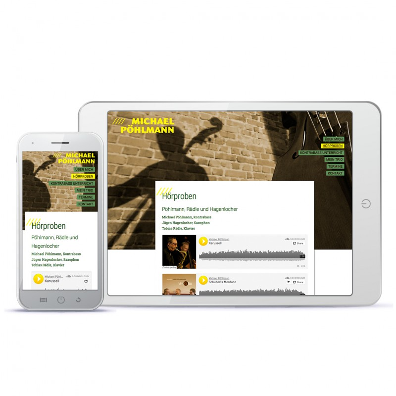 Gestaltungsbeispiel Musiker-Webpräsenz – Bassist