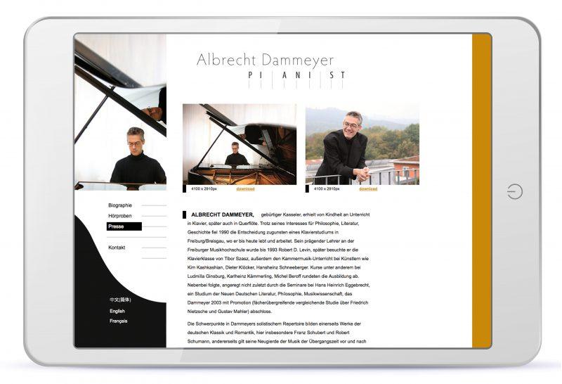 """Rubrik """"Presse"""" der Webpräsenz von Albrecht Dammeyer, Design Miriam Awe"""