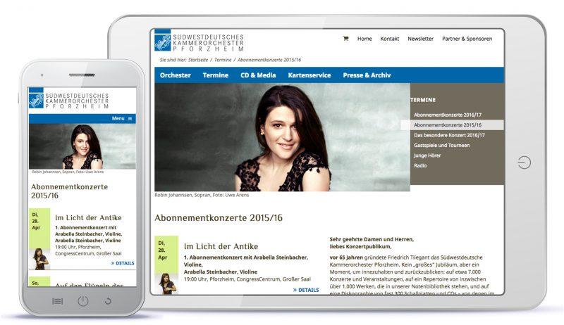 Webdesign Südwestdeutsches Kammerorchester Pforzheim – Abo