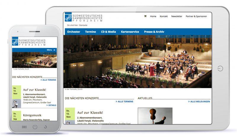 Webdesign Südwestdeutsches Kammerorchester Pforzheim – Startseite