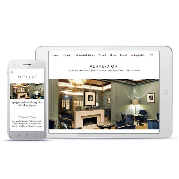 Kunsthandwerk-Website Ansicht auf verschiedenen Mobilgeräten