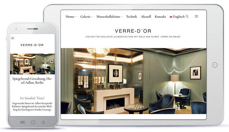 Kunsthandwerk-Website Ansicht auf verschiedenen Bildschirmgrößen