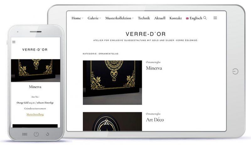 Ansicht der Website-Gestaltung für ein Atelier für Glasgestaltung
