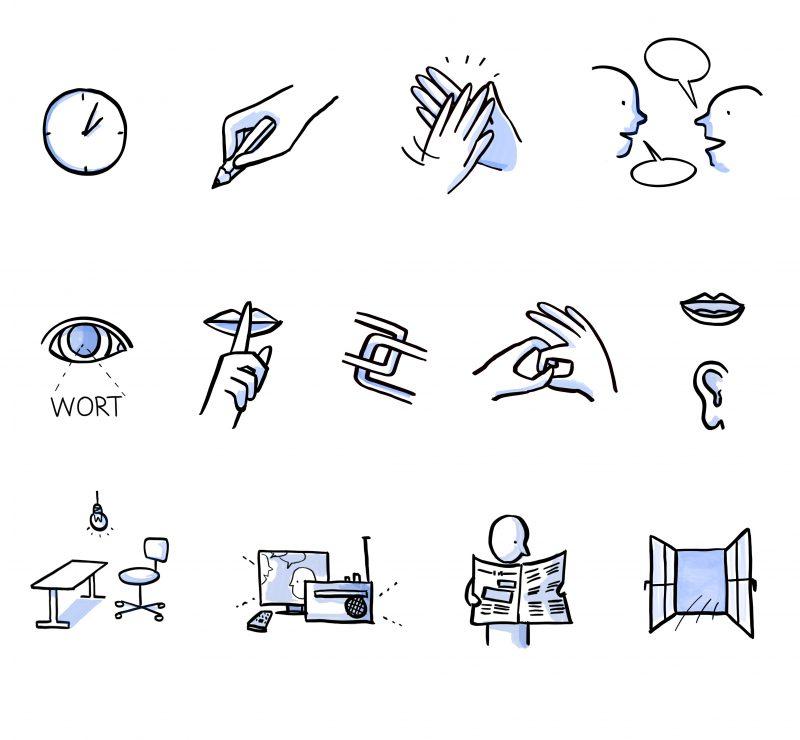 """icon-Sammlung für das """"Lernen lernen"""" Video im Auftrag der Volkshochschule Baar"""