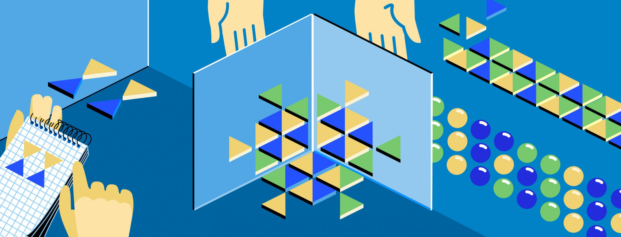 Illustrationsbeispiel Muster & Struktur im Flat-Design Stil für ein Unterrichtsportal